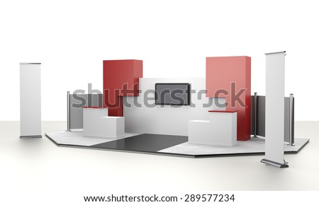booth design in exhibition with tv display and rollups. 3D rendering - stock photo
