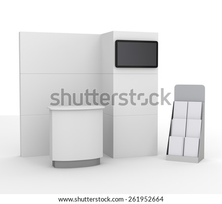 booth mock-up with tv display for a trade fair - stock photo