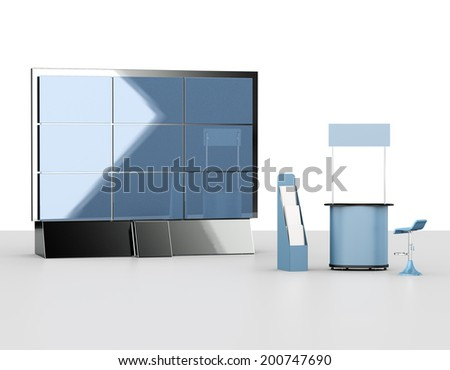 booth or kiosk from front view with rollup and display isolated on white. 3d render - stock photo