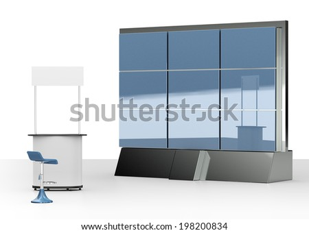 booth or kiosk with display screen wall isolated on white. 3d render - stock photo