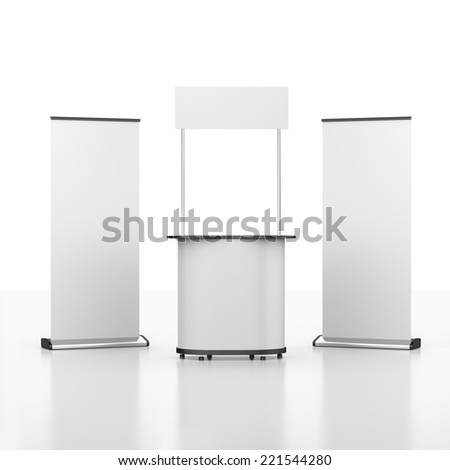booth or kiosk with two rollups from front view. 3d render - stock photo
