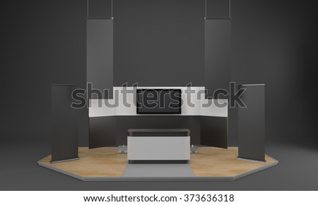 Flat Lcd Television On White Cabinet Stock Photo 558408304