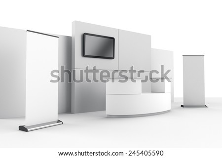 booth or stall with wall, tv and roll-ups from side - stock photo