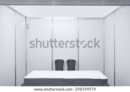 Booth with lighting inside the Trade show pavilion - stock photo