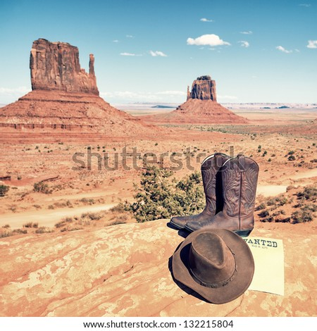 boots and hat at Monument Valley, USA - stock photo