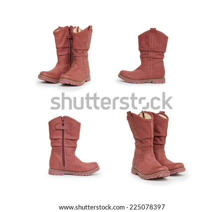 boots collection on white background