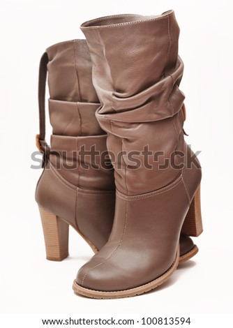 Boots isolated on white background - stock photo