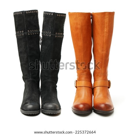 boots on a white background  - stock photo