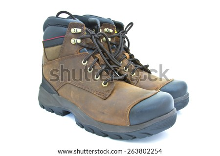 boots shoe isolated over white background - stock photo