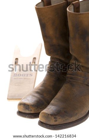 boots with boot tree - stock photo