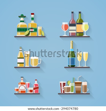 Booze or drinks flat icons on tray at bar. Beverage and liquor, design, wine and juice, champagne bottle and beer - stock photo