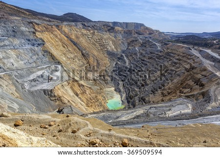 Bor, Serbia - April 15.2015: Panorama of the open pit. The copper mine Veliki Krivelj next to Bor, Serbia. Floors resulting exploitation. Tailing and copper ores.