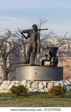 Bor, Serbia,- December,12.2015.: Monument to the miner at the entrance to the mining town - stock photo