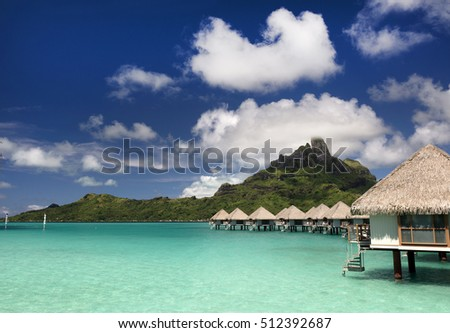 Bora Bora and South Pacific ocean, over water bungalows, French Polynesia