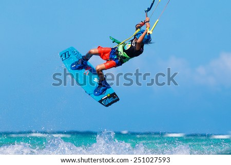 "Boracay island, Philippines - January 28, 2015 : unidentified kite-surfer performs in competitions ""The Boracay internanional funboard cup 28-31 January, 2015"" Freestyle category."