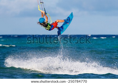 "Boracay island, Philippines - January 28, 2015 : unidentified kite-surfers performs in competitions ""The Boracay internanional funboard cup 28-31 January, 2015"" Freestyle category."