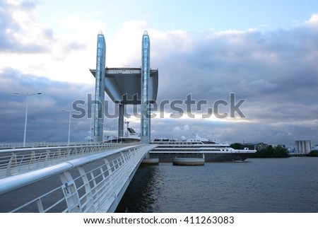 BORDEAUX, FRANCE - April 25, 2016: A cruise ship on it's way out of Bordeaux, on the Garonne river