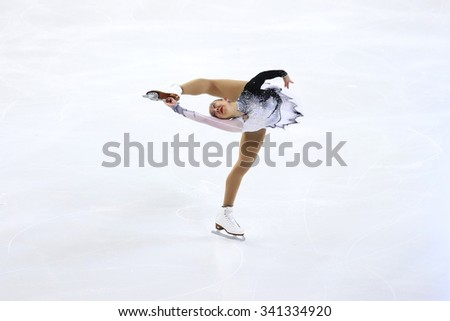 BORDEAUX, FRANCE - NOVEMBER 13, 2015: Brooklee HAN  of Australia performs short program at Trophee Bompard ISU Grand Prix at Patinoire Meriadeck Arena. - stock photo