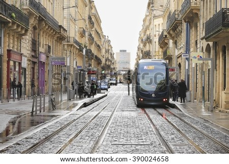BORDEAUX, FRANCE- November 7 2015 : City street scene with tramway in Bordeaux, France