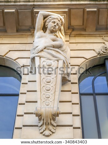 BORDEAUX, FRANCE, November 15, 2015: COURS INTENDANCE street, details of sculptures on top of a listed commercial building