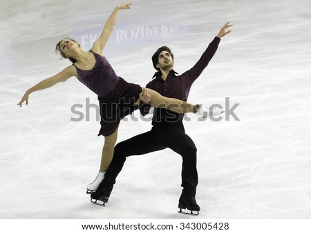 BORDEAUX, FRANCE - NOVEMBER 13, 2015: Madison HUBBELL / Zachary DONOHUE of USA perform short dance during the official training at Trophee Bompard ISU Grand Prix at Patinoire Meriadeck Arena. - stock photo