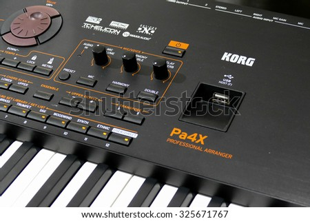 BORDEAUX, FRANCE, October 9, 2015 : Korg's demonstrator plays on the long awaited Korg's flagship Pa4X professional arranger with incredible sound quality. Available only in november 2015.