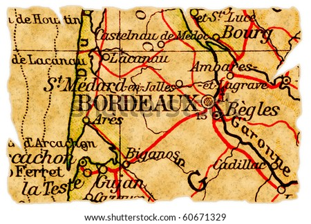 Bordeaux, France on an old torn map from 1949, isolated. Part of the old map series. - stock photo