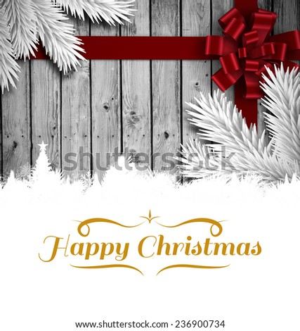 border against wood with festive bow - stock photo