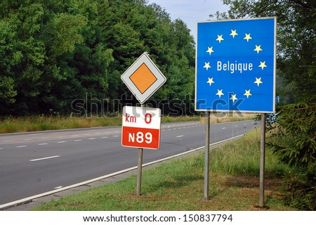 Border between France and Belgium - Road sign indicating the border of a European Union country - stock photo