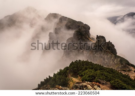 Border between Slovakia and Poland in Carpathians Mountains - stock photo