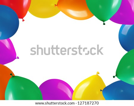 border colorful balloons on a white background - stock photo