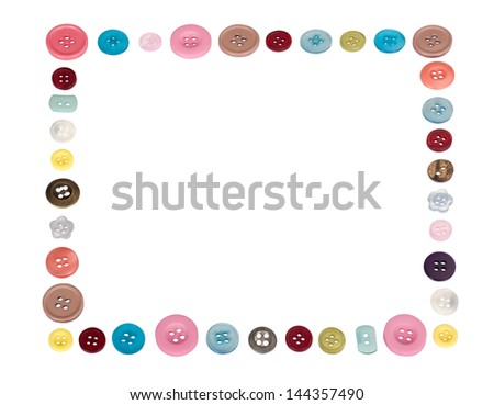 Border created by assorted buttons - stock photo