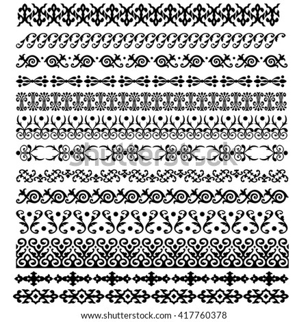 Border decoration elements patterns in black and white colors. illustrations.
