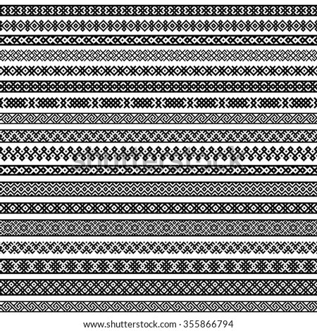 Border decoration elements patterns in black and white colors. Most popular ethnic border in one mega pack set collections. Raster copy. - stock photo