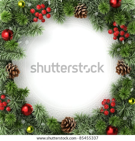 Border, frame from christmas tree branches. - stock photo
