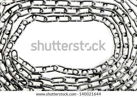 border frame of metal chains isolation on white background - stock photo