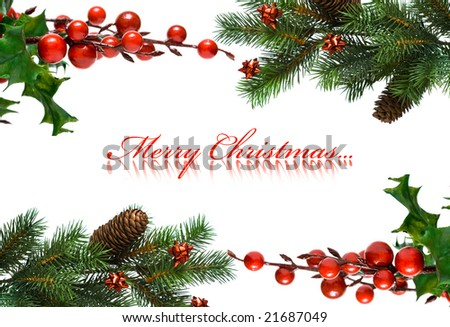 border from Christmas branches of fir-tree and european holly - stock photo