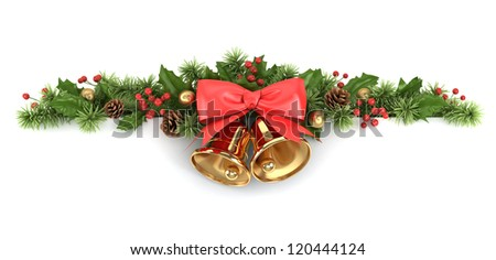 Border from decorated christmas tree branches and holly. - stock photo