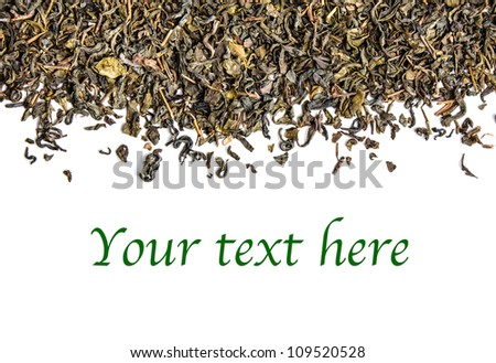 Border from Green Tea Leaves isolated on white background - stock photo