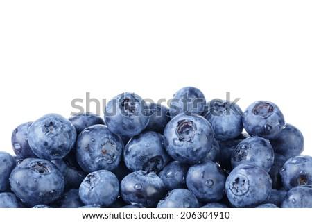 border from ripe washed blueberries, white background - stock photo