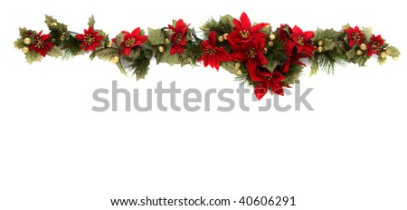 Border made of Christmas decoration. On white background and isolated, with some copy space for text.