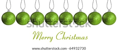 Border made of  green christmas baubles on strings - stock photo