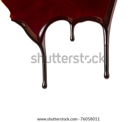 Border of chocolate syrup leaking  isolated on white background   - stock photo