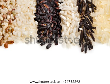 border of different types of rice  isolated on white background - stock photo