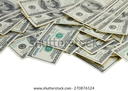 border of 100 dollar bills isolated on white background - stock photo