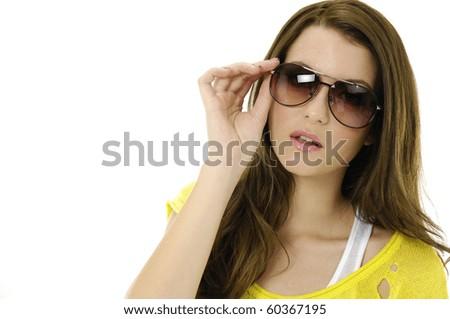 Border of fashion model wearing the modern sunglasses. - stock photo