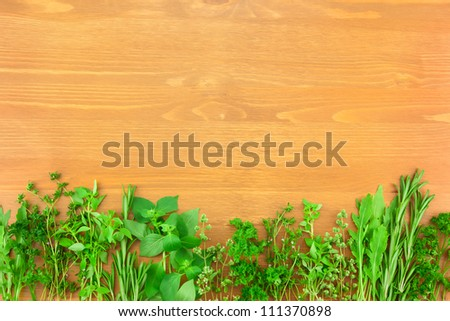 Border of Fresh  Herbs Collection on Vintage Wooden Table with copy space for your text - stock photo