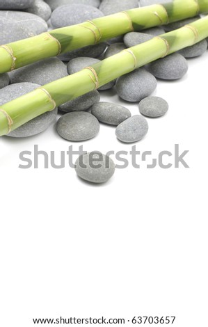 Border of pile of gray stones and bamboo grove - stock photo