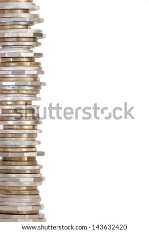 Border of stacked Australian money circulated coins, isolated on white - stock photo