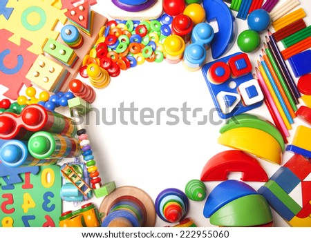 border of very many kids toys - stock photo